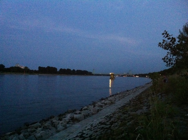 Sonnenuntergang am Rheinufer