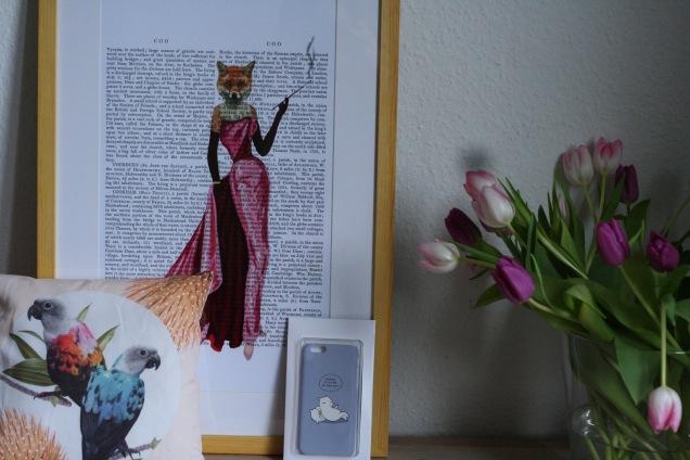 Jolly Parrots-Kissen, Lady Fox-Kunstdruck, Red Dot-Case